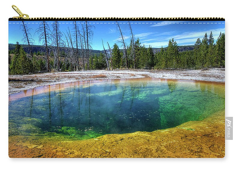 Morning Glory Pool Carry-all Pouch featuring the photograph Yellowstone Hot Spring by Dbushue Photography