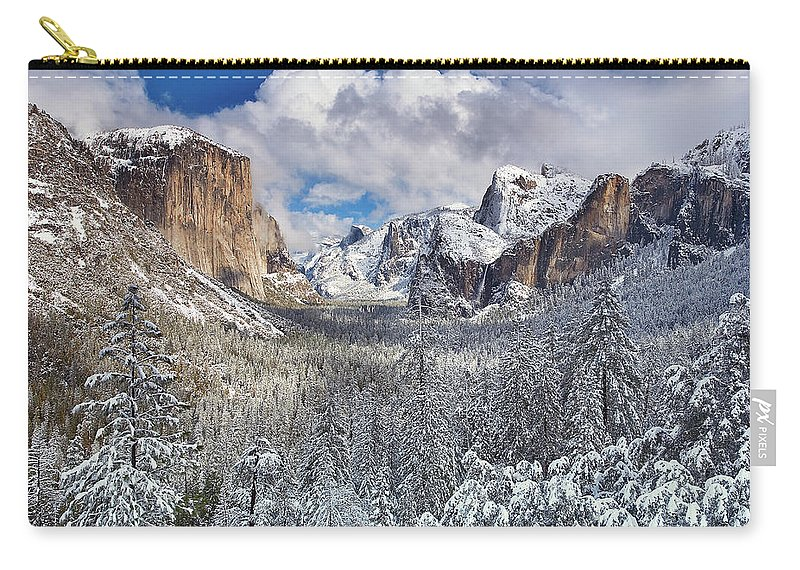 Scenics Carry-all Pouch featuring the photograph Yosemite Valley In Snow by Www.brianruebphotography.com