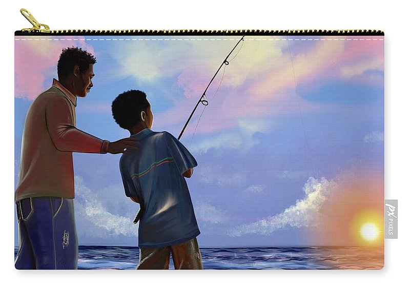 Fishing Carry-all Pouch featuring the digital art You make Him proud by Artist RiA