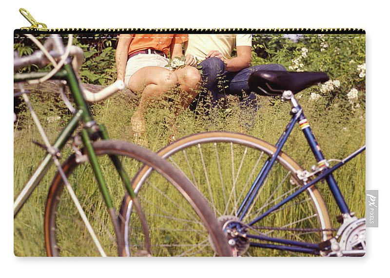 Heterosexual Couple Carry-all Pouch featuring the photograph Young Adults Teenagers Field Date Bikes by H. Armstrong Roberts
