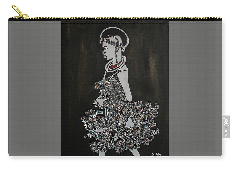 Fulani Culture Carry-all Pouch featuring the painting Young Fulani Girl by AMADOU Sanda