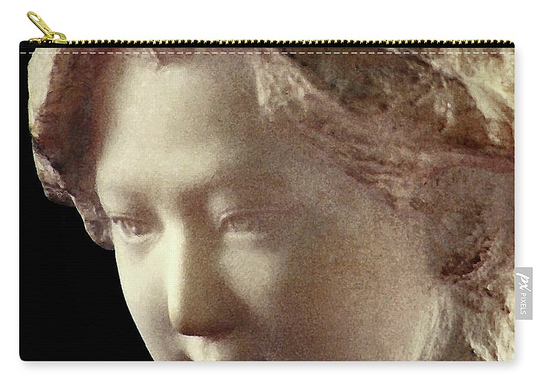 People Carry-all Pouch featuring the sculpture Young Girl-part-arttopan Carving-realistic Stone Sculptures-marble by Artto Pan