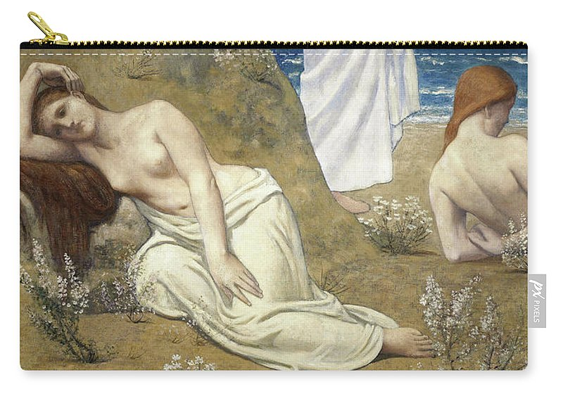 Young Girls By The Seaside Carry-all Pouch featuring the painting Young Girls By The Seaside - Digital Remastered Edition by Pierre Puvis de Chavannes