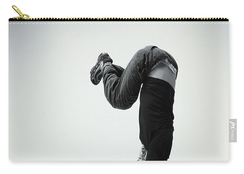 Youth Culture Carry-all Pouch featuring the photograph Young Man Breakdancing B&w by Karen Moskowitz