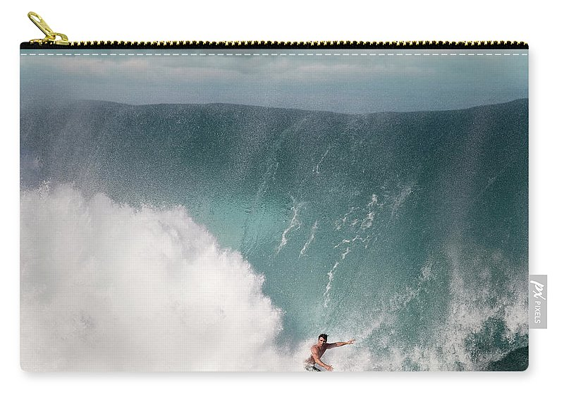 Human Arm Carry-all Pouch featuring the photograph Young Man Surfing On Wave by Ed Freeman