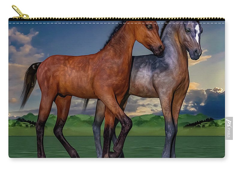 Foals Carry-all Pouch featuring the digital art Young Spirits by Betsy Knapp