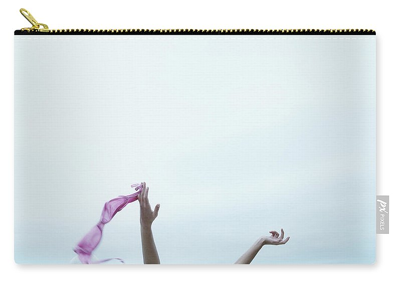 Young Men Carry-all Pouch featuring the photograph Young Woman In Convertible Car, Arms by Jerome Tisne