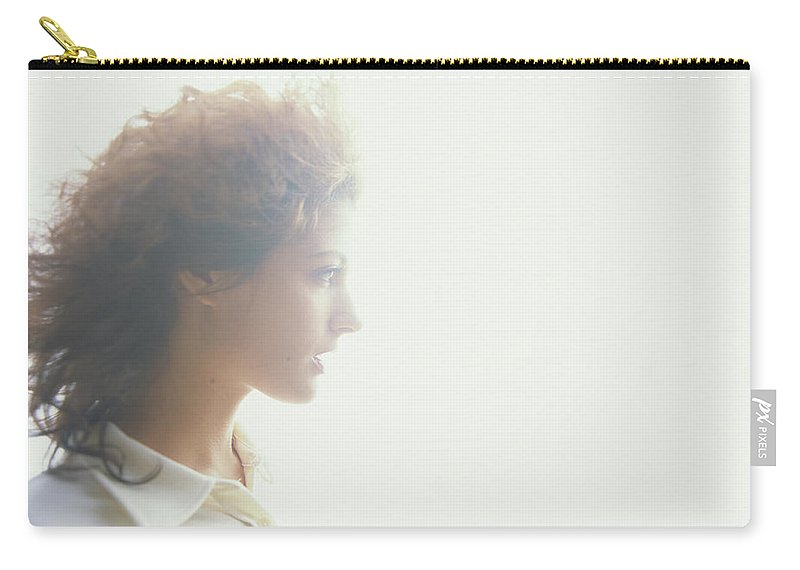 Beautiful Woman Carry-all Pouch featuring the photograph Young Woman, Profile Soft Focus by Thomas Barwick