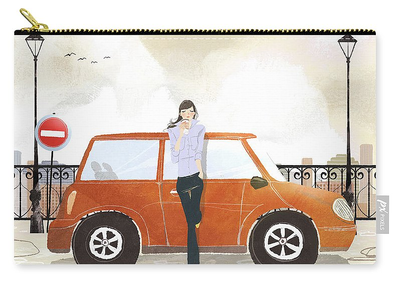 People Carry-all Pouch featuring the digital art Young Woman Standing In Front Of Car by Eastnine Inc.