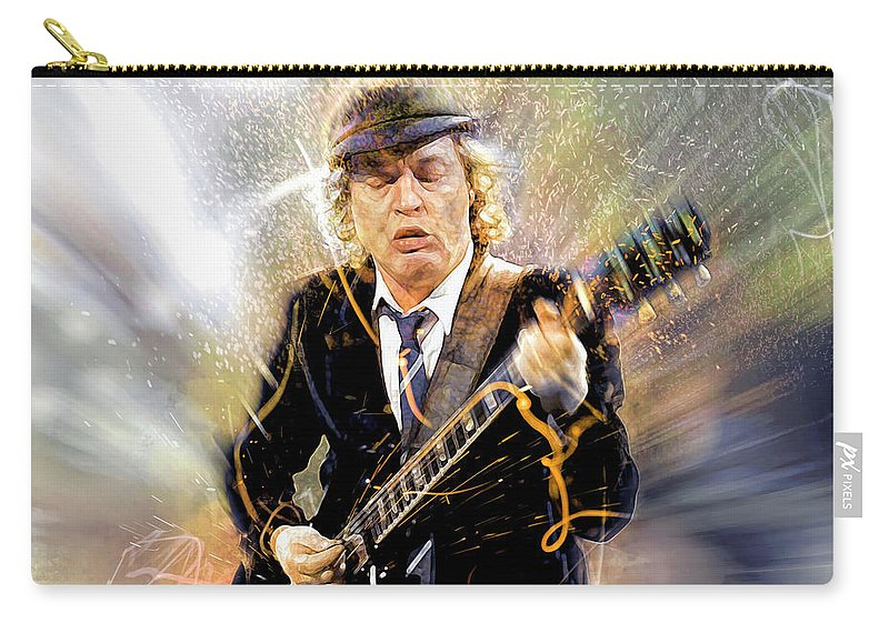 Angus Young Carry-all Pouch featuring the digital art You've been thunderstruck by Mal Bray