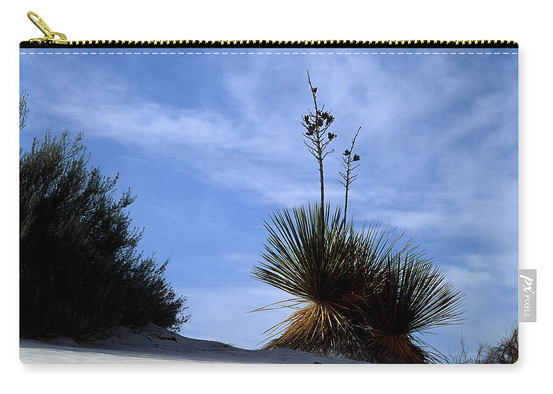 Background Carry-all Pouch featuring the photograph Yucca Plant In Rippled Sand Dunes In White Sands National Monument - Newm500 00107 by Kevin Russell