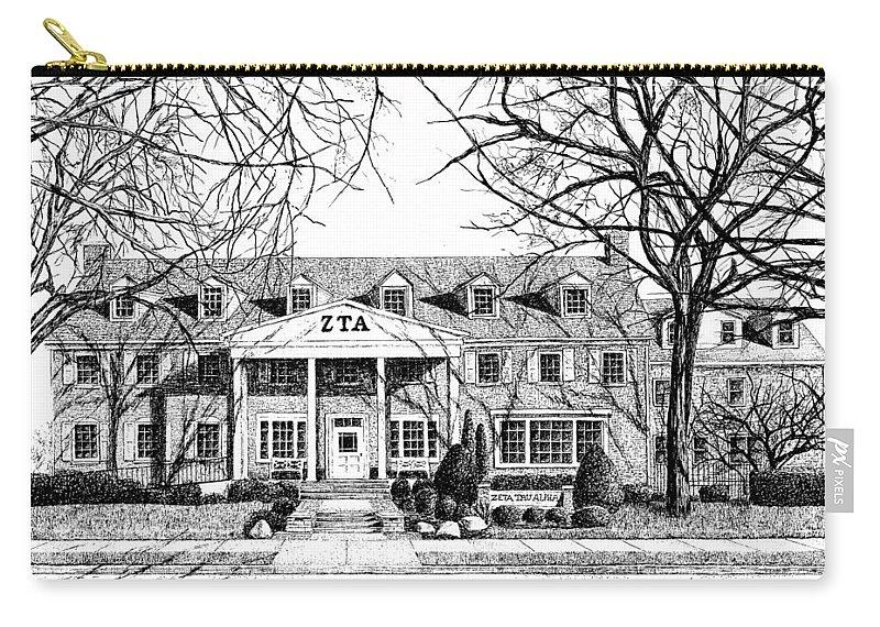 Zeta Tau Alpha Sorority Carry-all Pouch featuring the drawing Zeta Tau Alpha Sorority House, Purdue University, West Lafayette, Indiana, Fine Art Print by Stephanie Huber