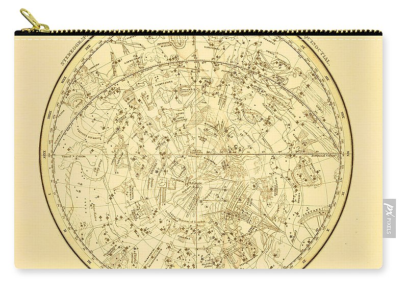 Engraving Carry-all Pouch featuring the digital art Zodiac Map by Nicoolay