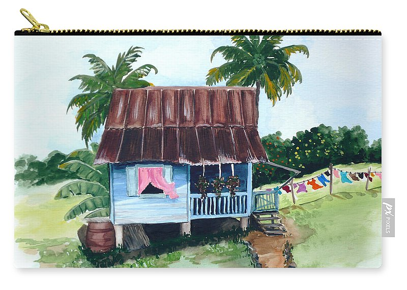 Landscape Painting Caribbean House Painting Blue House Painting Trinidad And Tobago Painting Greeting Card Painting Island Painting Tropical House Painting Blue Painting Carry-all Pouch featuring the painting Little Blue House by Karin Dawn Kelshall- Best