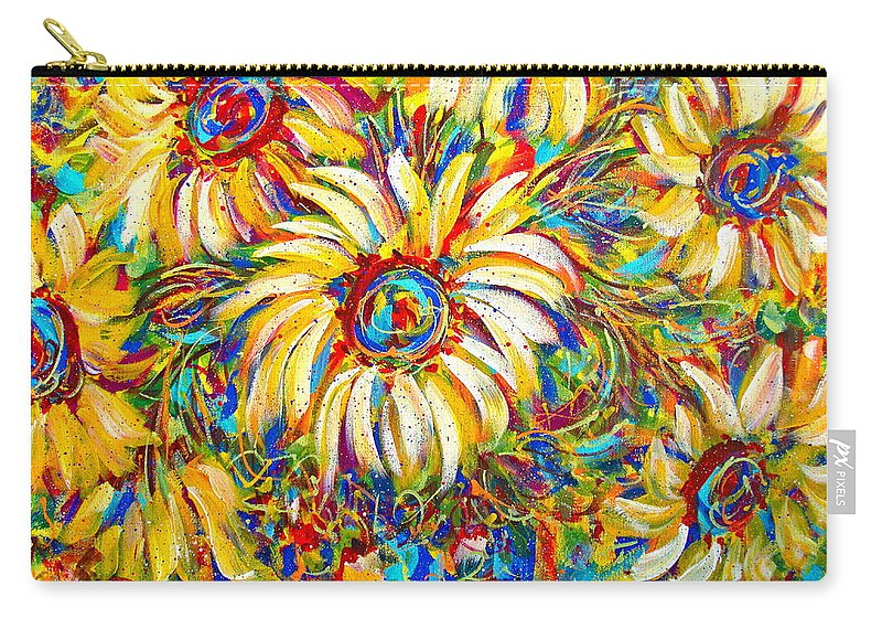 Flowers Carry-all Pouch featuring the painting Sunflower Burst by Natalie Holland
