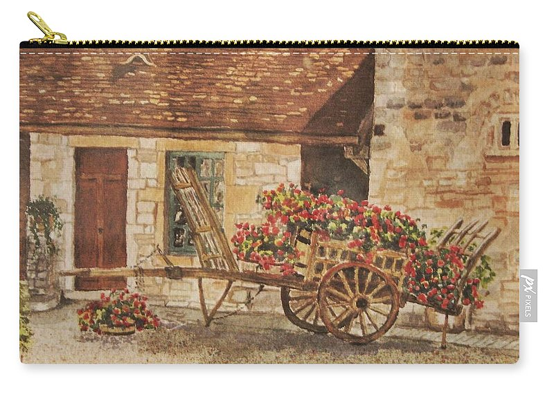 Rustic Carry-all Pouch featuring the painting Vougeot French Vineyard by Mary Ellen Mueller Legault