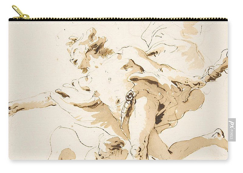 18th Century Art Carry-all Pouch featuring the drawing Apollo Standing In His Chariot by Giovanni Battista Tiepolo