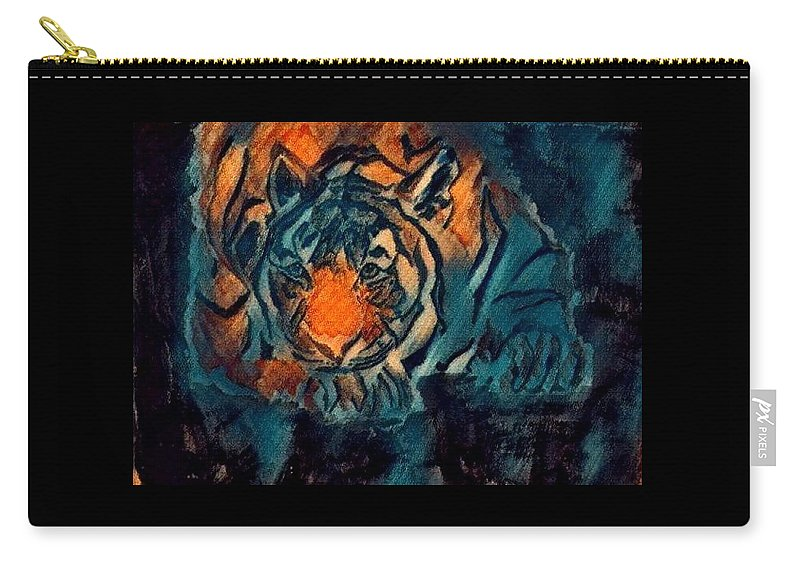 Tiger Carry-all Pouch featuring the painting Crush by Crystal Hubbard