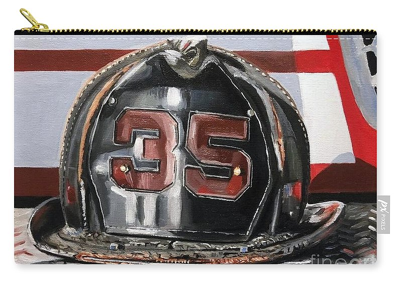 Fire Helmet Carry-all Pouch featuring the painting Fire Helmet by Paul Walsh