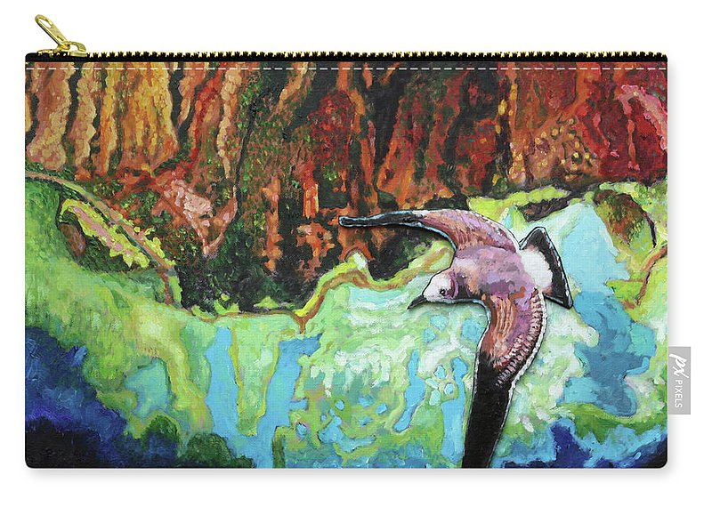 Sea Gull Carry-all Pouch featuring the painting Flying High by John Lautermilch