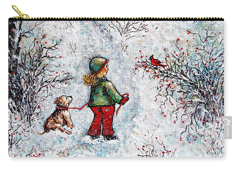 Winter Carry-all Pouch featuring the painting Pleasant Meeting by Natalie Holland
