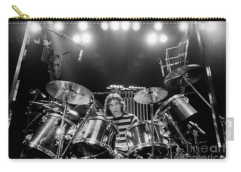 Rush Carry-all Pouch featuring the digital art Rush Neil Peart Poster by Trindira A