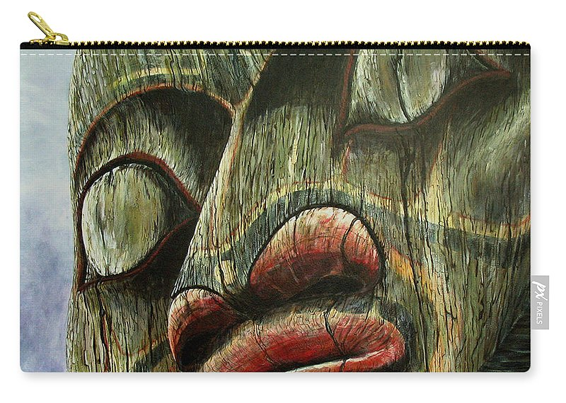 Totem Pole Painting Carry-all Pouch featuring the painting Totemic Figure - Kwakiutl by Elaine Booth-Kallweit