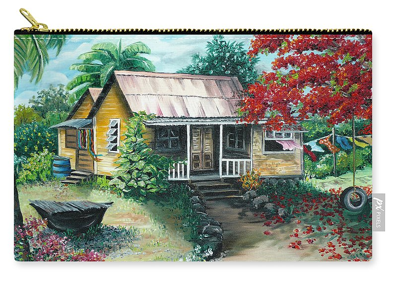 Landscape Painting Caribbean Painting Tropical Painting Island House Painting Poinciana Flamboyant Tree Painting Trinidad And Tobago Painting Carry-all Pouch featuring the painting Trinidad Life by Karin Dawn Kelshall- Best