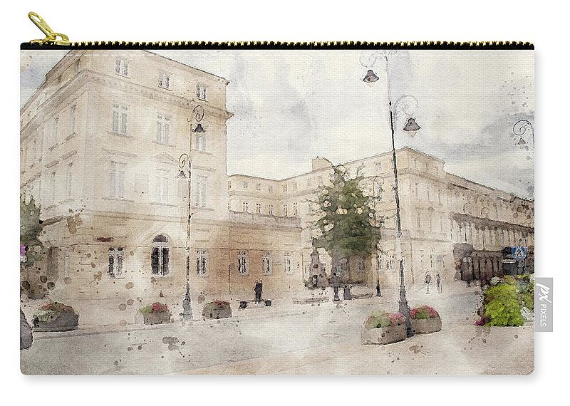 Warsaw Old Town Carry-all Pouch featuring the mixed media Warsaw Old Town by Smart Aviation