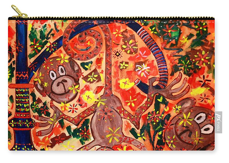 Contemporary Folk Carry-all Pouch featuring the painting Jinga Monkeys by Fareeha Khawaja