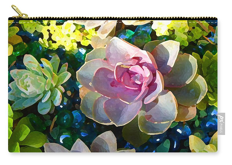 Succulent Carry-all Pouch featuring the painting Succulent Pond 1 by Amy Vangsgard