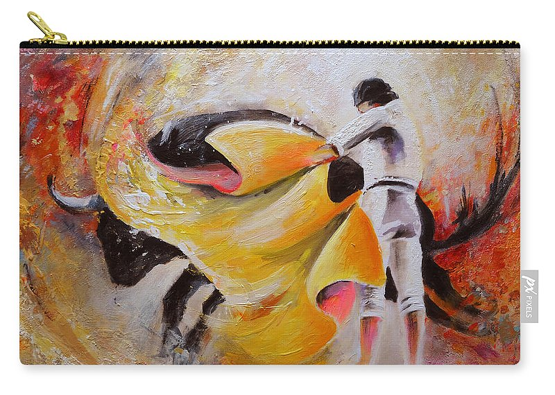 Animals Carry-all Pouch featuring the painting 2009 Toro Acrylics 01 by Miki De Goodaboom
