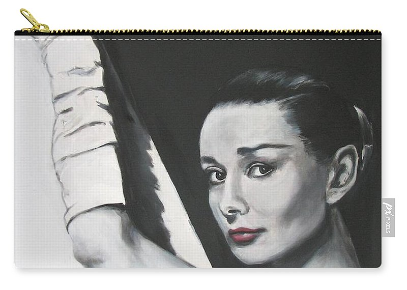 Audrey Hepburn Carry-all Pouch featuring the painting Audrey Hepburn by Eric Dee