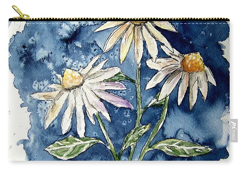 Daisy Carry-all Pouch featuring the painting 3 Daisies Flower Art by Derek Mccrea