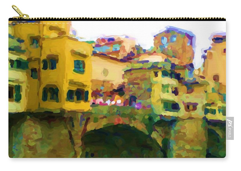 Florence Carry-all Pouch featuring the mixed media Florence by Asbjorn Lonvig