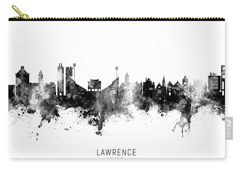 Lawrence Carry-all Pouch featuring the photograph Lawrence Kansas Skyline by Michael Tompsett