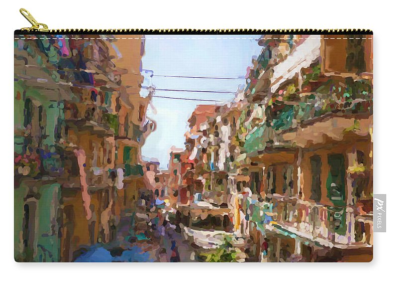 Cinque Terre Carry-all Pouch featuring the mixed media Cinque Terre by Asbjorn Lonvig
