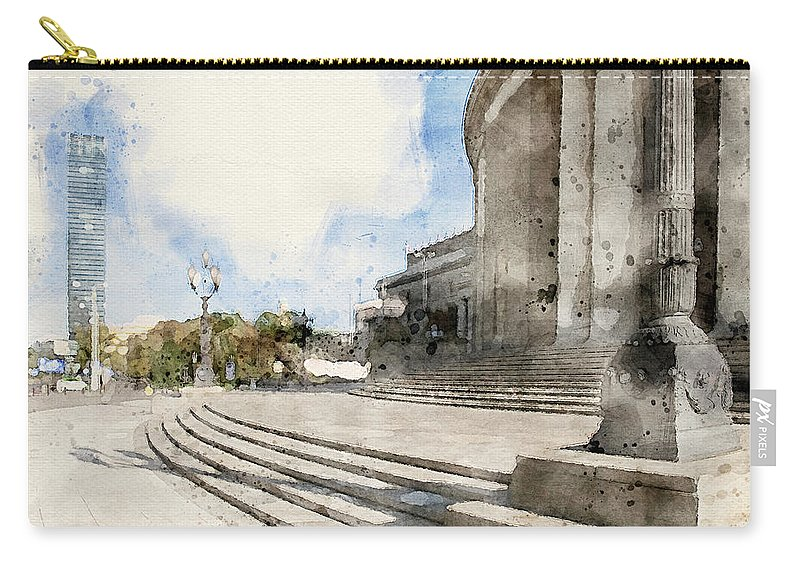 Warsaw Towers Carry-all Pouch featuring the mixed media Warsaw Towers by Smart Aviation