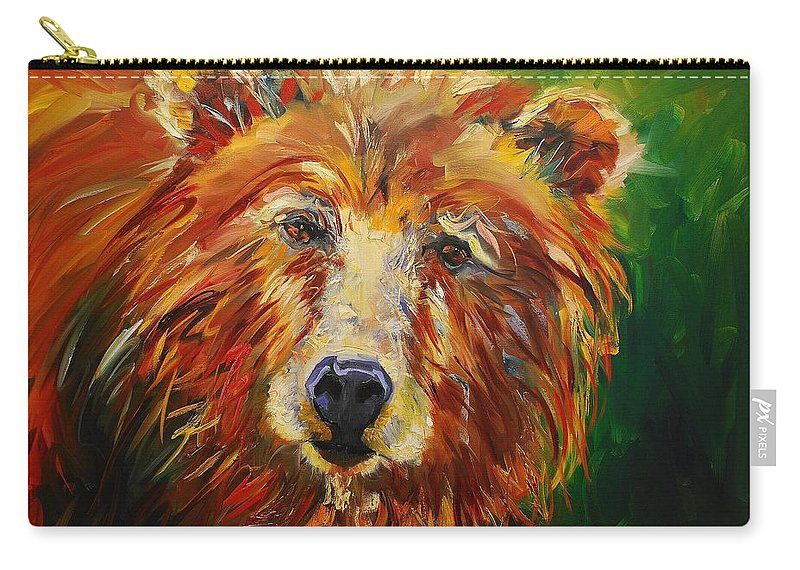 Bear Carry-all Pouch featuring the painting A Bunch Of Bear by Diane Whitehead