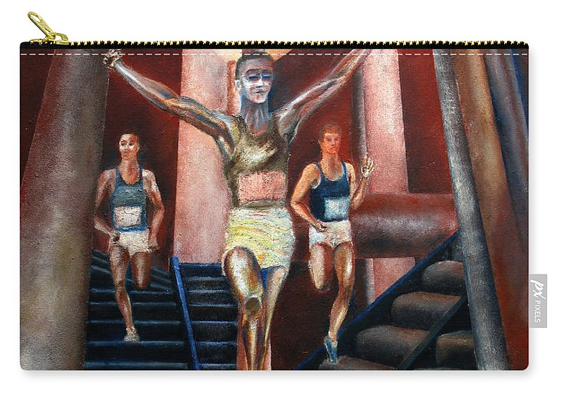 Figures Carry-all Pouch featuring the painting A day in the life by Tom Conway