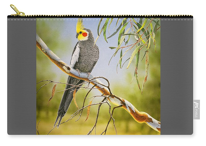 Bird Carry-all Pouch featuring the painting A Friendly Face - Cockatiel by Frances McMahon