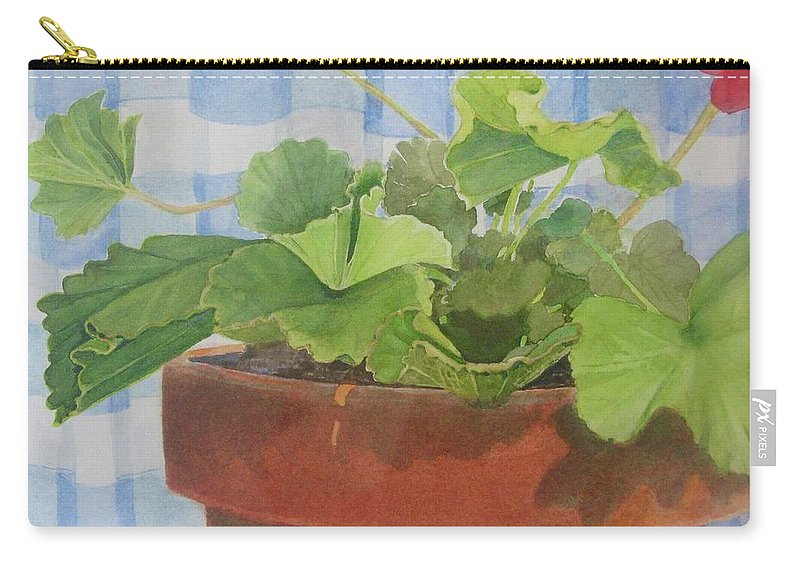 Flowers Carry-all Pouch featuring the painting A Geranium is a Geranium is a Geranium...... by Mary Ellen Mueller Legault
