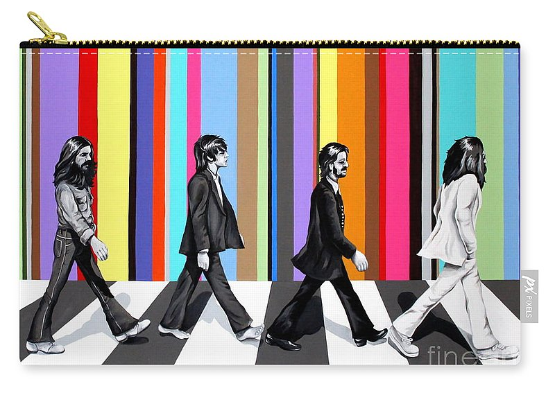 The Beatles Carry-all Pouch featuring the painting Abbey Road Technicolor by Amy Belonio