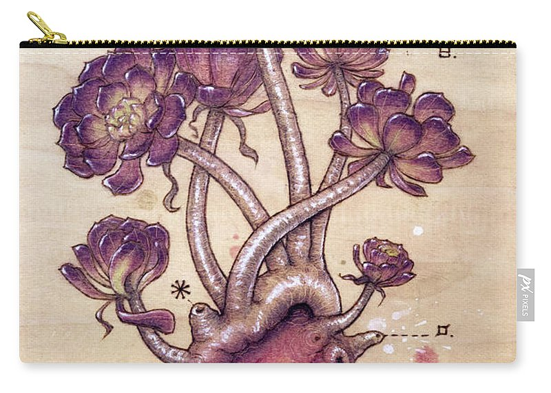 Pyrography Carry-all Pouch featuring the pyrography Aeonium Heart by Fay Helfer
