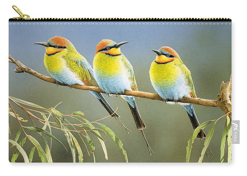 Bird Carry-all Pouch featuring the painting Afternoon Repose - Rainbow Bee-Eaters by Frances McMahon