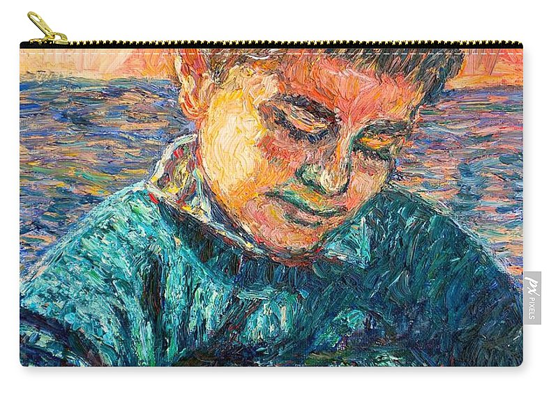 Portrait Carry-all Pouch featuring the painting Alan Reading by Kendall Kessler