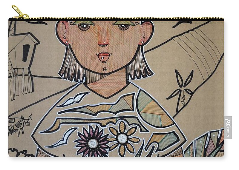 Puerto Rico Carry-all Pouch featuring the painting Alyza in Wonder Island by Oscar Ortiz