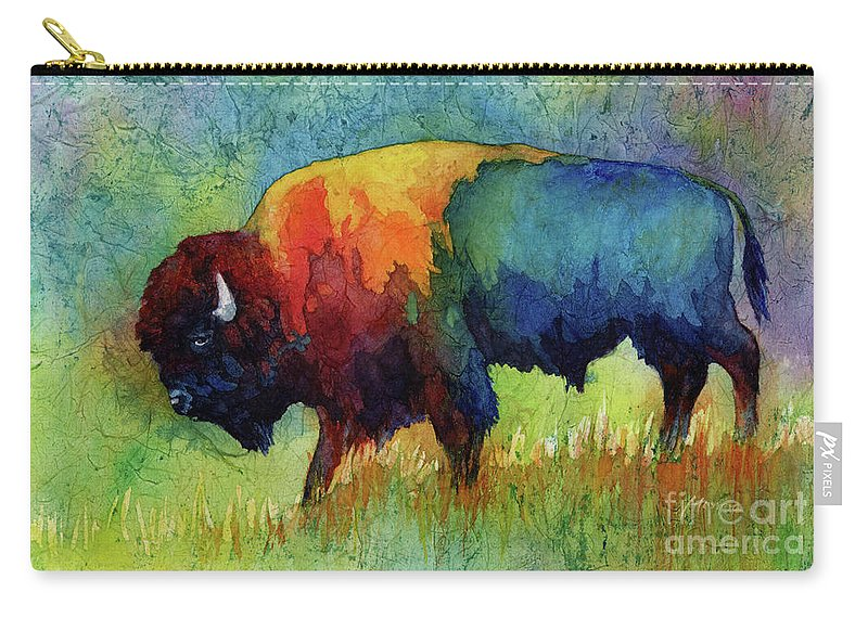 Bison Carry-all Pouch featuring the painting American Buffalo III by Hailey E Herrera