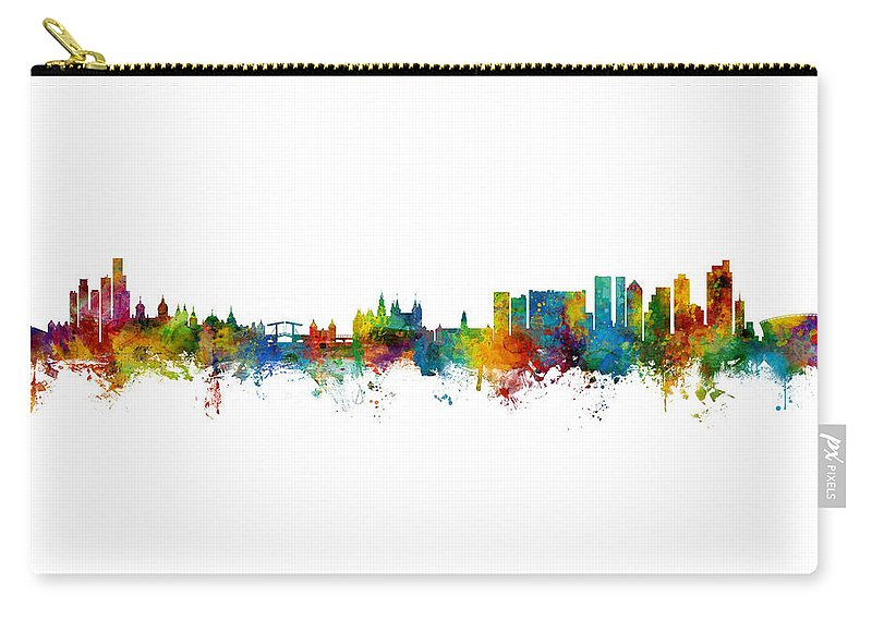 Cape Town Carry-all Pouch featuring the digital art Amsterdam And Cape Town Skyline Mashup by Michael Tompsett