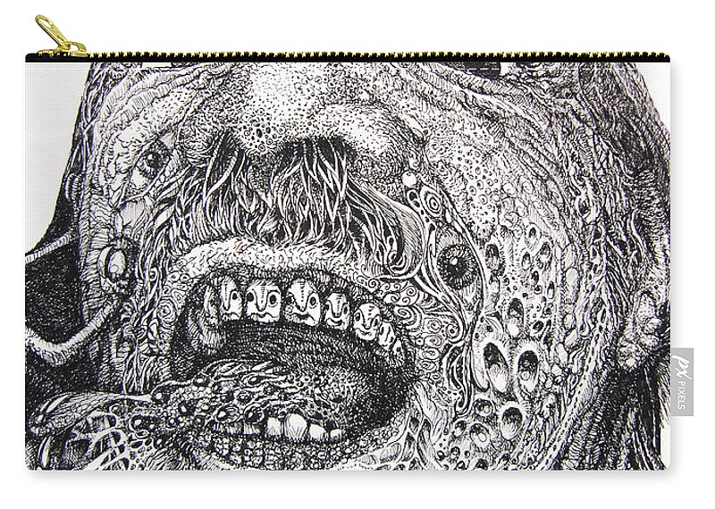 Surrealist Carry-all Pouch featuring the drawing Antipods Screamer by Otto Rapp